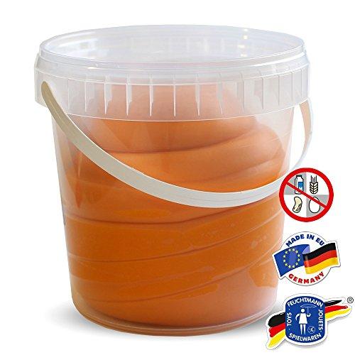 Feuchtmann KNETEIMER Kinder Soft Knete Knetmasse 1 kg orange im wiederverschließbaren Eimer mit Tragegriff