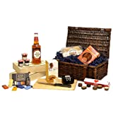 The Gentlemans Old Speckled Hen Sweet & Savoury Treats Gift Hamper - Luxury Brown Wicker Gift Basket Includes 500ml Old Speckled Hen Ale, Snowdonia Cheese Truckle, Savoury Biscuits, Chorizo Sausage, Green & Blacks Organic Chocolates & More - Valentines D