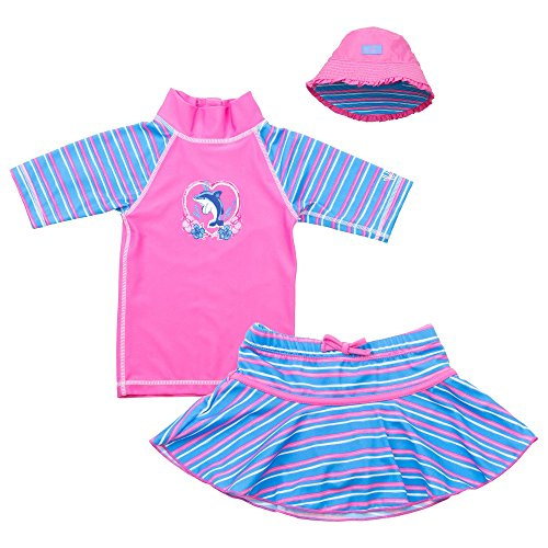 UV Skinz Girls 3-piece Swim Set UPF 50+, 12/18 Months, Pink Dolphin (Toddler Sun Protection Swimwear compare prices)