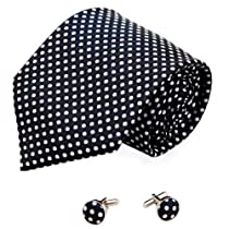 A2070 Black And White Polka Dots Luxury Silk Ties Cufflinks Set 2PT By Y&G