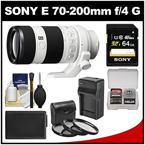 Sony Alpha E-Mount Fe 70-200Mm F/4.0 G Oss Zoom Lens With 64Gb Card + Battery & Charger + 3 Uv/Cpl Nd8 Filters + Accessory Kit