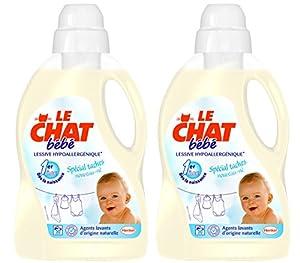 Le Chat Bébé Lessive Liquide Concentrée Hypoallergénique Flacon 1,5 L / 20 Lavages Lot de 2
