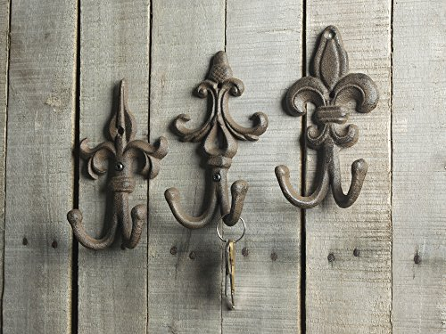 SET OF 3 - Cast Iron Fleur De Lis Double Wall Hooks / Hangers - Decorative Wall Mounted Coat Hook - Rustic Cast Iron - With Screws And Anchors by Comfify CA-1504-30-BR 6
