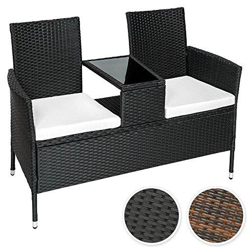 TecTake-Sitzbank-mit-Tisch-Poly-Rattan-Gartenbank-Gartensofa-inkl-Sitzkissen-diverse-Farben-Schwarz-Nr-401547