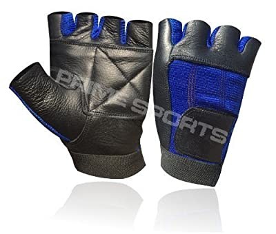 Weight Lifting Padded Body Building Wheel Chair Training Gym Leather Gloves Black/blue Small (s) by Prime Leather