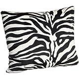 Brentwood Originals 18-Inch Zebra Fur Pillow, Black