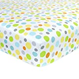 Carters Cotton Fitted Crib Sheet, Neutral/Yellow/Orange/Green Dots