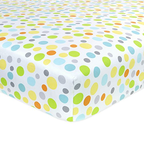 Carter's Cotton Fitted Crib Sheet, Neutral/Yellow/Orange/Green Dots