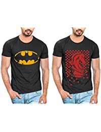 T Shirt For Men & Boys Graphic Round Neck Half Sleeve Combo Of 2_Slim Fit_100% Cotton_Casual T Shirt_graphic Printed_T-Shirts... - B01M28TJ03