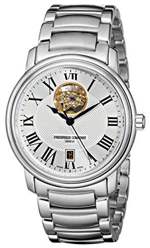 Frederique Constant FC-315M4P6B3 - Reloj para hombres, correa de metal color plateado
