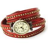Fashion Rivet Weave Wrap Around Leather Retro Bracelet Woman Wrist Watch Dark Red