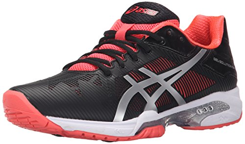 ASICS Women's Gel-Solution Speed 3 Tennis Shoe, Black/Silver/Diva Pink, 9 M US