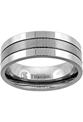 Titanium Wedding Ring 8 mm 2 Grooves Brushed Center Flat Comfort Fit, sizes 7 - 14