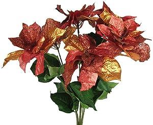 "22"" Shiny Silk Poinsettia Flower Bush with Glitter - Ecru/Pink 269"