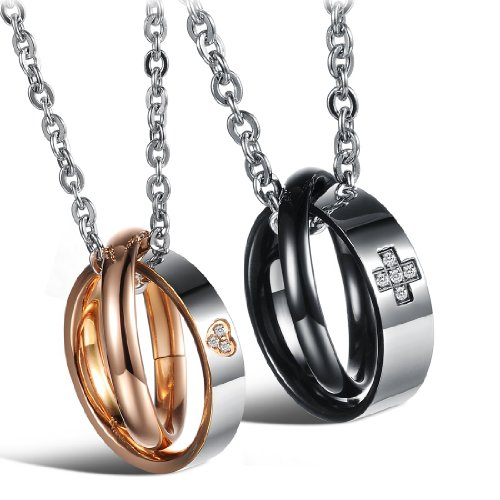 LOVE Beauties His & Hers Matching Set Titanium Couple Pendant Necklace Korean Love Style in a Gift Box (A Pair)