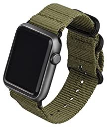 Y-BAND Apple Watch 42mm Band NATO Iwatch Woven Nylon Fabric Replacement Strap with Storage Box Olive Green with Space Gray Adaptors