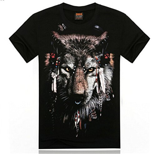 Black Cotton 3D Animal Halloween Costume T-Shirt Tee Tops Shirts For Men Boys
