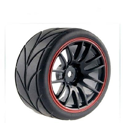 Huhushop(TM) 4PCS RC Racing Rubber Tires Fit HSP HPI 9068-6081 1/10 Car On Road Wheel Rim