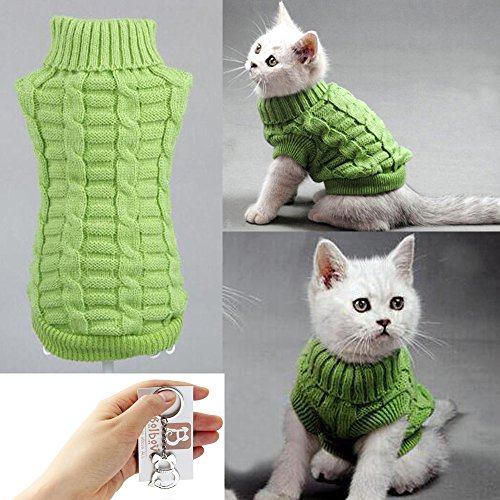 Bolbove-Cable-Knit-Turtleneck-Sweater-for-Small-Dogs-Cats-Knitwear-Cold-Weather-Outfit-Green-Small