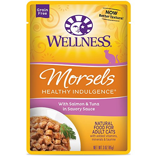 Wellness Healthy Indulgence Natural Grain Free Wet Cat Food, Morsels Salmon & Tuna, 3-Ounce Pouch (Pack of 24) (Wellness Canned Cat Food Salmon compare prices)