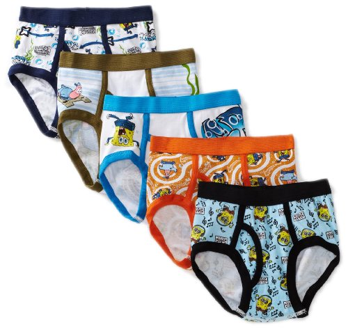 Nickelodeon Little Boys' SpongeBob Brief (Pack of 5), Multi, 4