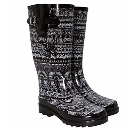 sakroots-faux-fur-lined-rainboot-black-white-size-9