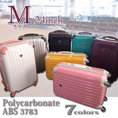 スーツケース キャリーバッグ/ピンク色[cha37-83]超軽量・Mサイズ・24inch・4輪 ポリカ ABS 旅行かばん