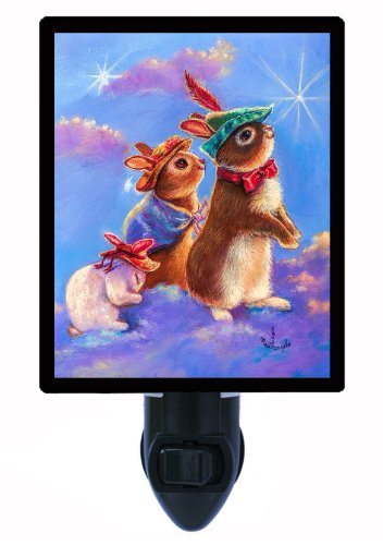 Night Light - Bunny Family In Clouds - Rabbit - Bunnies Led Night Light front-1014544