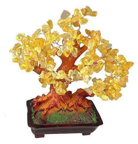 Feng-Shui-Glcksbaum-25-cm-Geldbaum-Bonsai-Pfennigbaum-Handarbeit-Stein-Gold