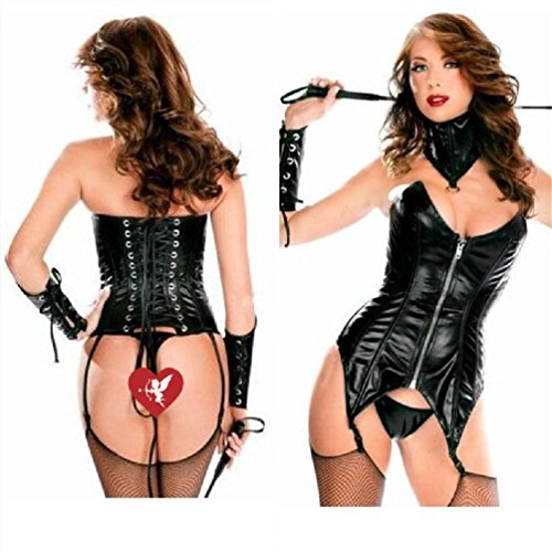 Ponce Halloween Pu Leather Leather Corset Dress Female Pole Dancing Stage
