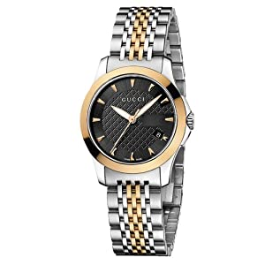 Gucci G-Timeless Collection Women's Quartz Watch with Black Dial Analogue Display and Two Tone Stainless Steel Rose Gold Plated Bracelet YA126512