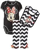 Disney Baby Girls  Minnie Mouse 3 Piece Striped Bodysuit Bib and Pant, Black, 9 Months
