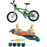 Segolike Mini Green Finger Mountain Bike Bicycle & Finger Skateboard Set Funny Toys For Children Kids Gift