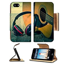 buy Luxlady Premium Apple Iphone 5 5S Flip Case Headphones With Acoustic Guitar Vintage Retro Image 33251616 Pu Leather Card Holder Carrying