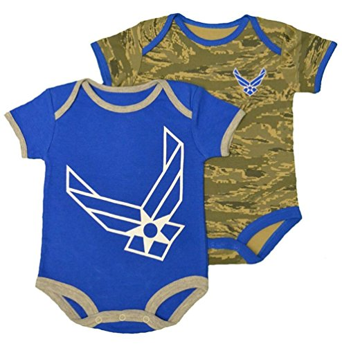 Infant / Baby Air Force Abu Camo Bodysuits 2Pk Blue (3-6 Months) front-473476