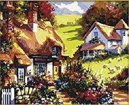 [ New Release ] Diy Oil Painting by Numbers, Paint by Number Kits - Mountain Lodge 16*20 inches - Digital Oil Painting Canvas Wall Art Artwork Landscape Paintings for Home Living Room Office Christmas Decor Decorations Gifts - Diy Paint by Numbers Diy Can