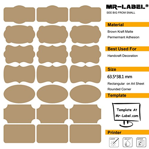 Mr-Label® 7 Types of Fancy Shape Brown Kraft Labels -Self Adhesive Stickers for Gift Decoration| Hand craft| Finishing Touch| Bottles (Size: 63.5*36.1mm,10 sheets/Total 210pcs labels)