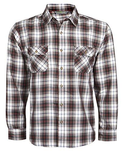 TUNDRA-Camicia da uomo a maniche lunghe, leggero, da lavoro, Casual Lumberjack tasche Arancione Orange/Red Check
