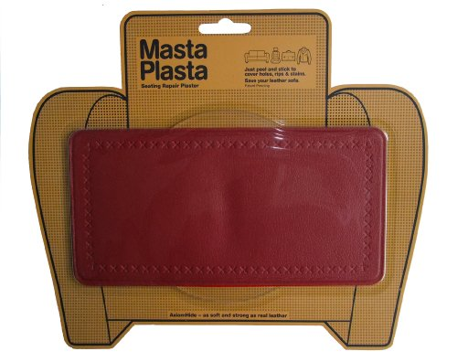 MastaPlasta RED Peel and Stick First-Aid Leather Repair Band-Aid. Plain design 8-inch by 4-inch. RED