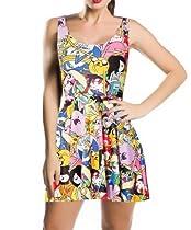 Fashion 3D Digital Print Adventure Time SCOOP Skater Dress Clubwear Ball Party