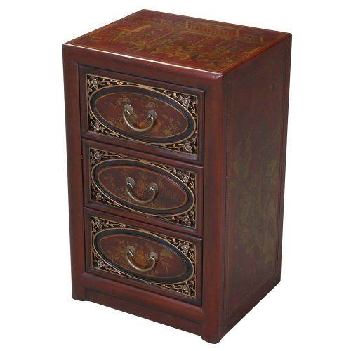Cheap EXP Handmade  Furniture 25-Inch Antique Style Red Leather End Table with Bas-Relief Floral Design (frc5021)