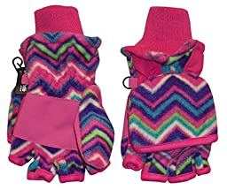 N\'Ice Caps Big And Little Kids Thinsulate Lined Converter Fingerless Glove To Mitten (7-9yrs, Zig Zag Print)