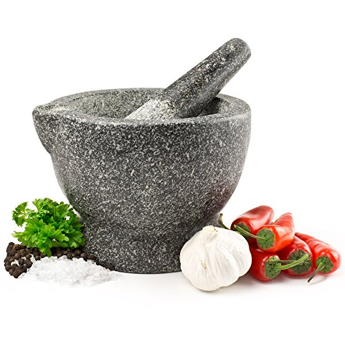 Andrew James Premium Solid Granite Pestle And Mortar With Spout For Easy Pouring - Large 15cm Diameter