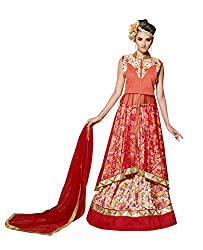 The Ethnic Chic Women's Red And Orange Color Net And Banglori Silk Lehenga.