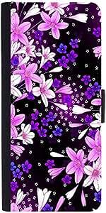 Snoogg Purple Flowers Designer Protective Phone Flip Case Cover For Xiaomi Redmi Note Prime