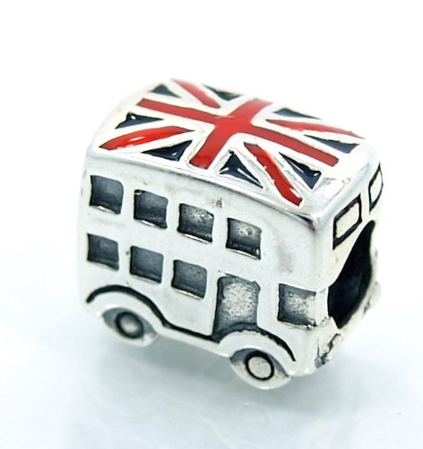 ".925 Sterling Silver ""London Bus & Enamel Flag"" Charm Bead For Snake Chain Charm Bracelets"