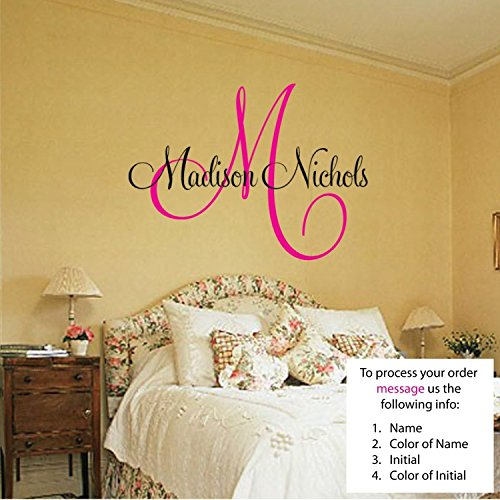 Newsee Decals Personalized Name and Initial Vinyl Wall Art Vinyl Lettering Vinyl Saying Wall Decal (Personalized Wall Letters compare prices)