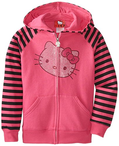 Hello Kitty Big Girls' Hoodie With Striped Sleeved, Fuchsia/Purple, 8 front-890560
