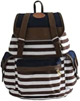 Ushoppingcart Unisex Fashionable Canvas Backpack School Bag Super Cute Stripe School College Laptop Bag for Teens Girls Boys Students (Brown)