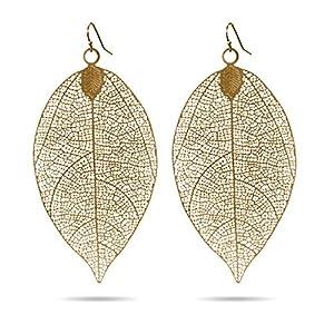 Golden Leaf Earrings in Filigree Design